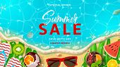 Summer Sale Promo Web Banner Template. Top View On Summer Decoration With Realistic Objects On Beach poster