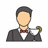 Barman Color Icon. Bartender, Barkeeper. Isolated Vector Illustration poster