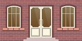 Modern City Facade Of A Residential Building. Brick Facade Of The Building With Window And A Door. F poster