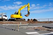 pic of land-mass  - Construction on a new sidewalk and pedestrian crosswalk - JPG