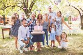 Family Celebration Outside In The Backyard. Big Garden Party. Birthday Party. poster