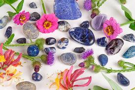 foto of lapis lazuli  - Blue gemstones sodalite saphire and lapis lazuli on white background - JPG