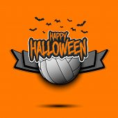 Happy Halloween Pattern. Volleyball Template Design. Volleyball Ball And Bat. Design Pattern For Ban poster