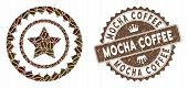 Mosaic Quality Stamp And Rubber Stamp Watermark With Mocha Coffee Caption. Mosaic Vector Quality Sta poster