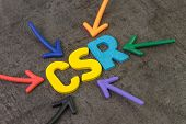 Csr, Corporate Social Responsibility Concept, Multi Color Arrows Pointing To The Abbreviation Csr At poster
