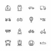 Transport, Transportation Outline Icons Set - Black Symbol On White Background. Transport, Transport poster