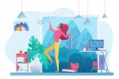 Room Cleaning With Music Flat Vector Illustration. Young Woman, Housewife In Headphones Dancing With poster