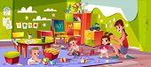 Children In Nursery School Cartoon . Baby Boys Playing Toys, Female Teacher Making Pigtails To Littl poster
