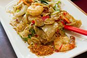 Thai Pad Kee Mao Rice Noodle With Prawns Dish