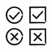 Check Mark Isolated Hand Drawn Button For Concept Design. Check List Button Sign. Vector Check Mark  poster