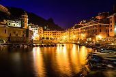 Vernazza Harbor At Night In Cinque Terre, Italy