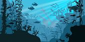 Sea Underwater Wildlife. Swimming Marine Turtle, Fishes And Sunken Ship Deep At The Ocean Bottom. poster