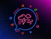 Clouds With Raindrops, Lightning, Wind Line Icon. Neon Laser Lights. Bad Weather Sign. Glow Laser Sp poster