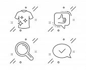 Clean T-shirt, Like And Research Line Icons Set. Approved Message Sign. Laundry Shirt, Thumbs Up, Ma poster