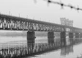 Bridge In The Morning Fog. Iron Bridge Over The River In Mystic Fog. poster