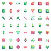 Video Gaming Elements Collection, Flat Icons Set, Colorful Symbols Pack Contains - Game Console Cont poster