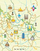 image of geodesic  - Geodesic Map of The Country with Landmarks - JPG