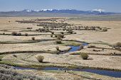 Illinois River meanders through Arapaho National Wildlife Refuge, North Park near Walden, Colorado,