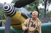 KIEV, UKRAINE -MAY 13: Member of Red Star history club wears historical German Luftwaffe uniform during historical reenactment of WWII, May 13, 2012 in Kiev, Ukraine