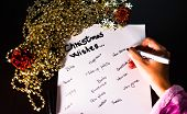 Writing Christmas Wishes. Christmas Wishes List. Text Christmas Wishes On Paper. poster