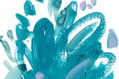 Turquoise Hand Drawn Watercolor Painting. Modern Light Blue Loop-shaped Brush Strokes Isolated On Wh poster