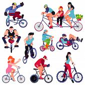 Bicycle Vector Bikers People Character Biking On Cycle Transport Illustration Set Of Man Woman Kid B poster