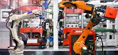 Orange Robotic And White Robotic Hand Machine Tool System In Factory, Industry Robot Concept poster