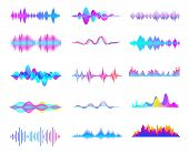 Colorful Sound Waves. Audio Signal Wave, Color Gradient Music Waveforms And Digital Studio Equalizer poster