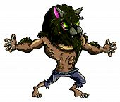 Cartoon werewolf with teeth and claws.