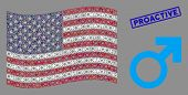 Mars Symbol Icons Are Grouped Into United States Flag Mosaic With Blue Rectangle Corroded Stamp Seal poster