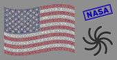 Galaxy Icons Are Arranged Into Usa Flag Abstraction With Blue Rectangle Grunge Stamp Watermark Of Na poster
