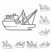 Isolated Object Of Commercial And Vessel Sign. Collection Of Commercial And Speedboat Stock Vector I poster