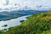 View Of La Roche Observation Point, Monroe Lake And The Park, With Fall Foliage Colors In Mont Tremb poster