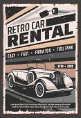 Retro Vehicle Rental Service, Old Vintage Cars Advertising Poster. Vector Rarity Vehicle Vip Luxury  poster