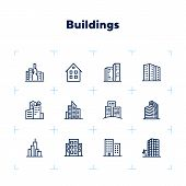 Buildings Line Icon Set. Office, House, Block Of Flats. City Concept. Can Be Used For Topics Like Re poster