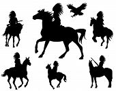 red indian silhouettes