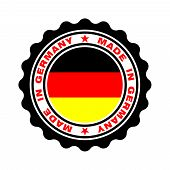 Stamp With Text Made In Germany. Logo German Quality. German Flag In Centre Circle. Icon Premium Qua poster