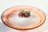 Two Strawberries On Plate