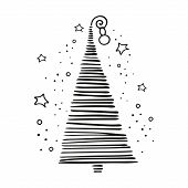 Christmas, New Year Linear Concept With Simple Minimalist Xmas Tree In Doodle Style. Isolated On Whi poster