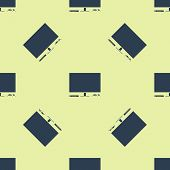 Blue Video Game Console Icon Isolated Seamless Pattern On Yellow Background. Game Console With Joyst poster
