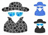 Spy Composition Of Round Dots In Variable Sizes And Color Hues, Based On Spy Icon. Vector Round Dots poster