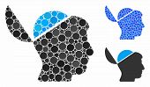 Open Brain Composition Of Spheric Dots In Various Sizes And Color Tones, Based On Open Brain Icon. V poster