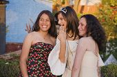 Hispanic girl and friends at Quinceanera
