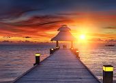 picture of dhoni  - Awesome vivid sunset over the jetty in the Indian ocean - JPG