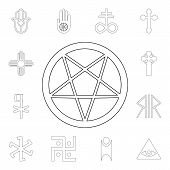 Religion Symbol, Occultism Outline Icon. Element Of Religion Symbol Illustration. Signs And Symbols  poster