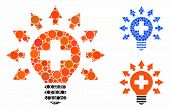 Disinfection Lamp Mosaic Of Round Dots In Different Sizes And Shades, Based On Disinfection Lamp Ico poster