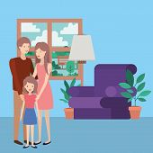 Cute And Happy Family Members In The Livingroom Vector Illustration Design poster