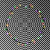 Christmas Color Lights Circle. Garland Wreath Decorations. Glowing String For Xmas Holiday. Vector I poster