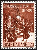 Postage stamp Italy 1967 shows Oath of Pontida, by Adolfo Cao