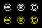 Black Registred Icons